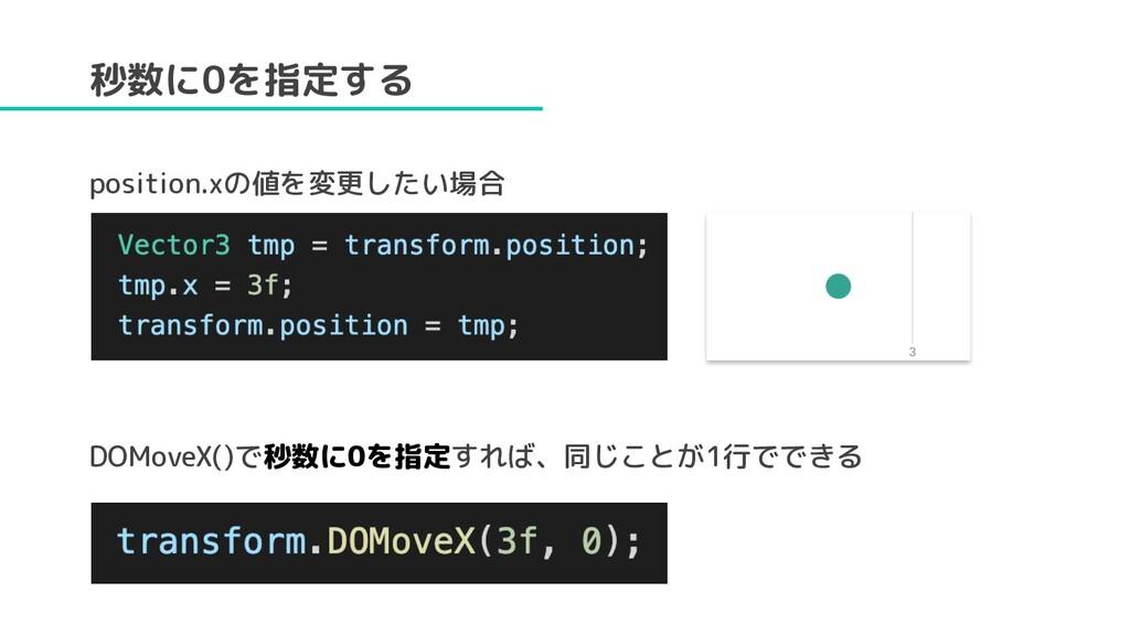 秒数に0を指定する position.xの値を変更したい場合 DOMoveX()で秒数に0を指...
