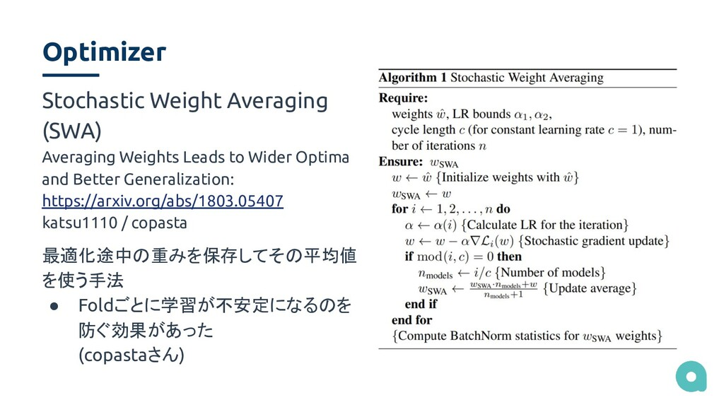 Optimizer Stochastic Weight Averaging (SWA) Ave...