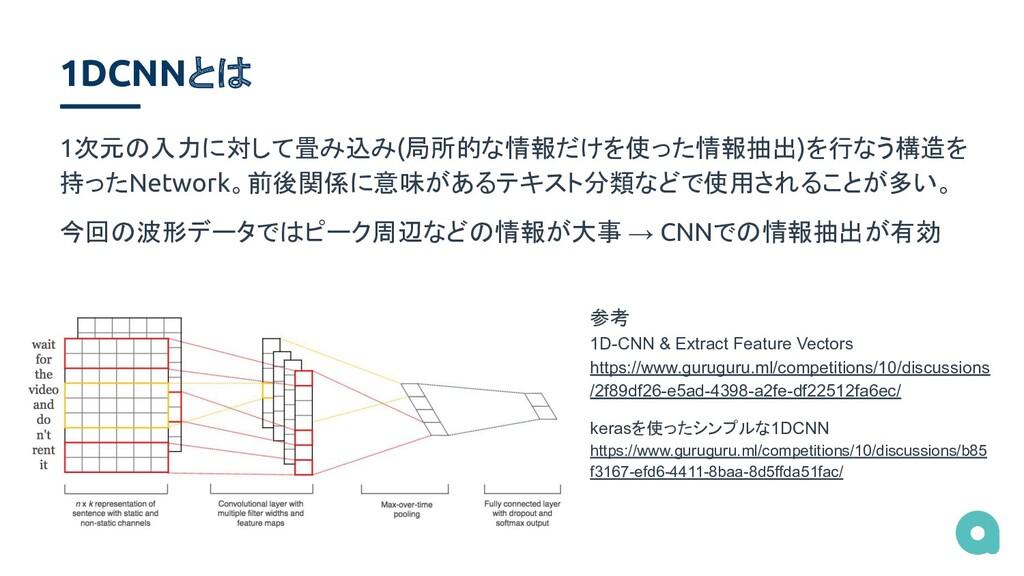 1DCNNとは 1次元の入力に対して畳み込み(局所的な情報だけを使った情報抽出)を行なう構造を...