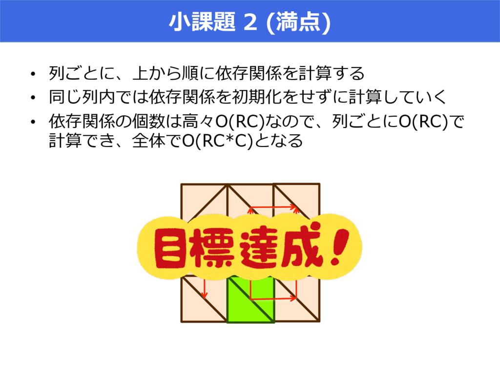 ⼩小課題 2 (満点) • 列列ごとに、上から順に依存関係を計算する • 同じ列列内で...