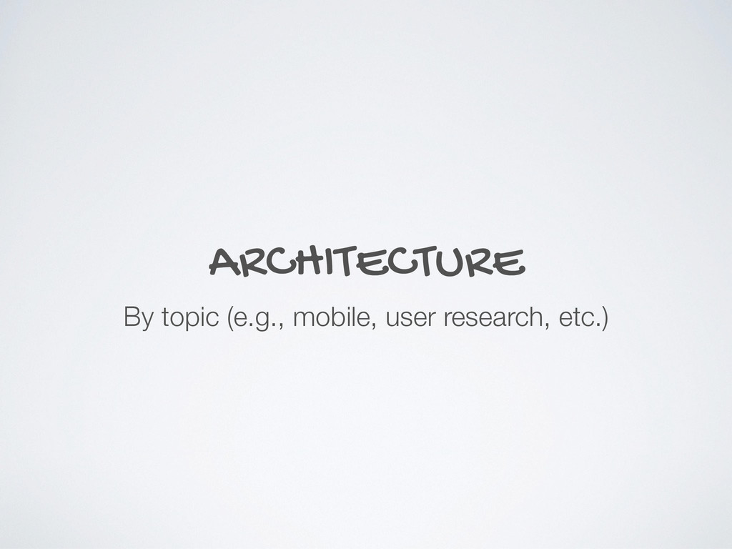 ARCHITECTURE By topic (e.g., mobile, user resea...