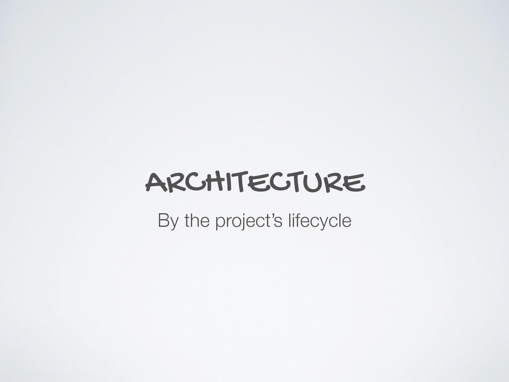 ARCHITECTURE By the project's lifecycle