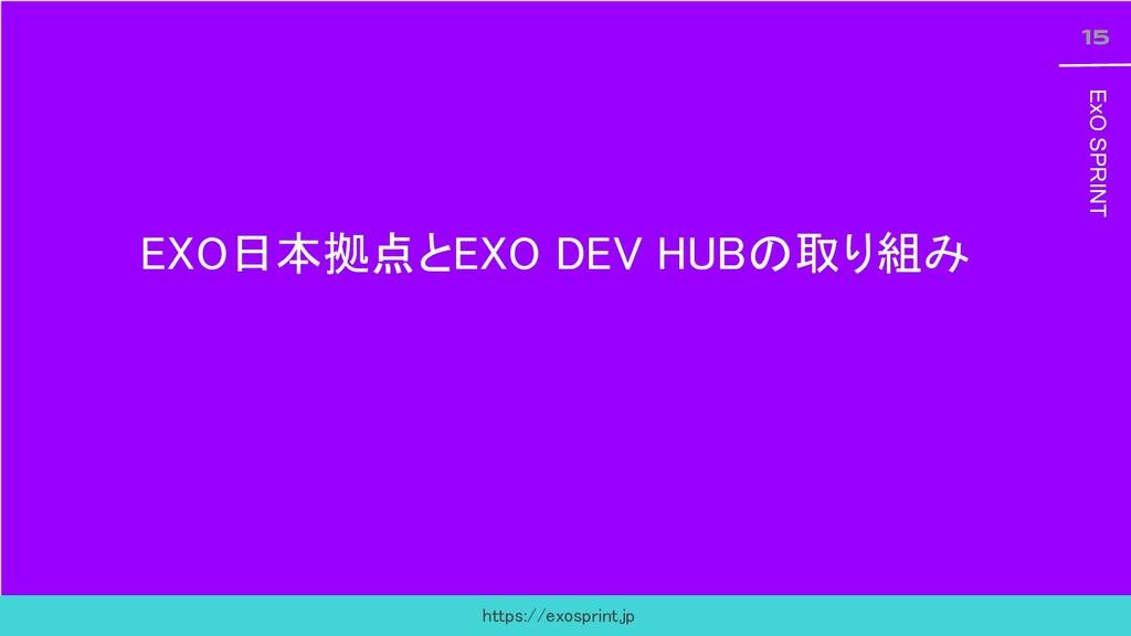15 ExO SPRINT 15 ExO SPRINT EXO日本拠点とEXO DEV HUB...