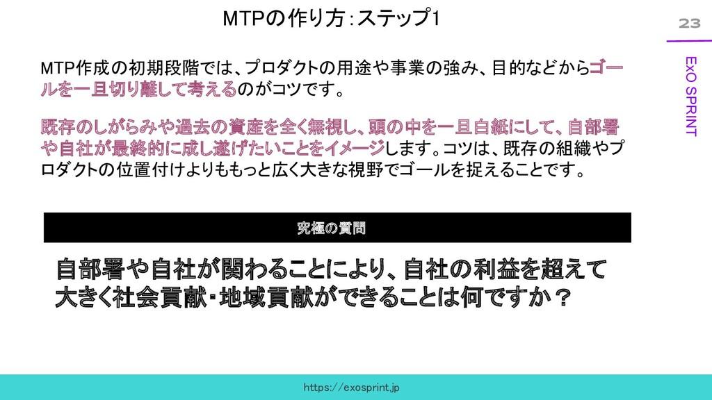 23 ExO SPRINT MTPの作り方:ステップ1 MTP作成の初期段階では、プロダクト...