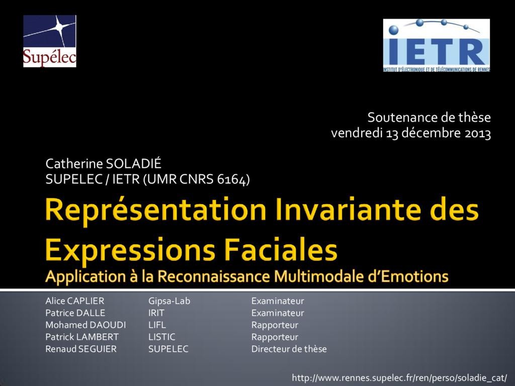 Soutenance de thèse vendredi 13 décembre 2013 C...
