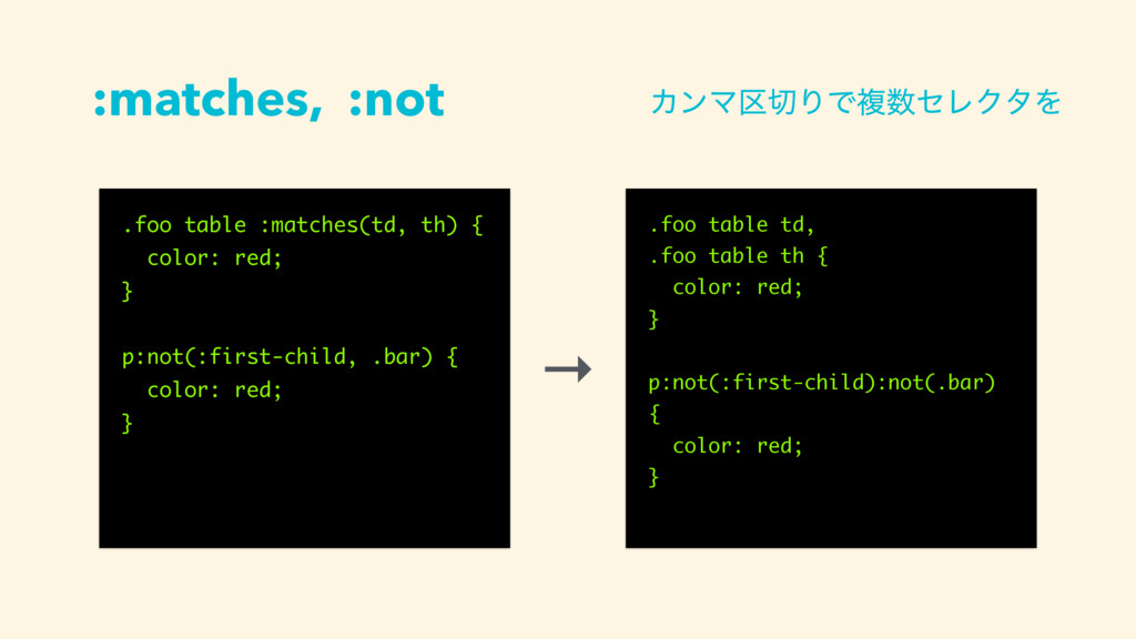 :matches, :not .foo table :matches(td, th) { co...