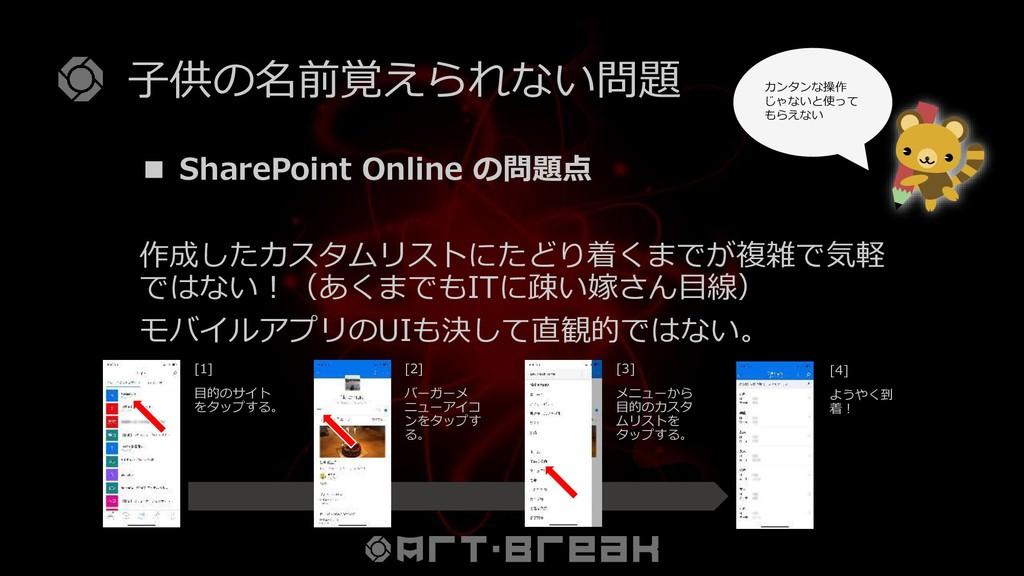 子供の名前覚えられない問題 ■ SharePoint Online の問題点 作成したカスタム...