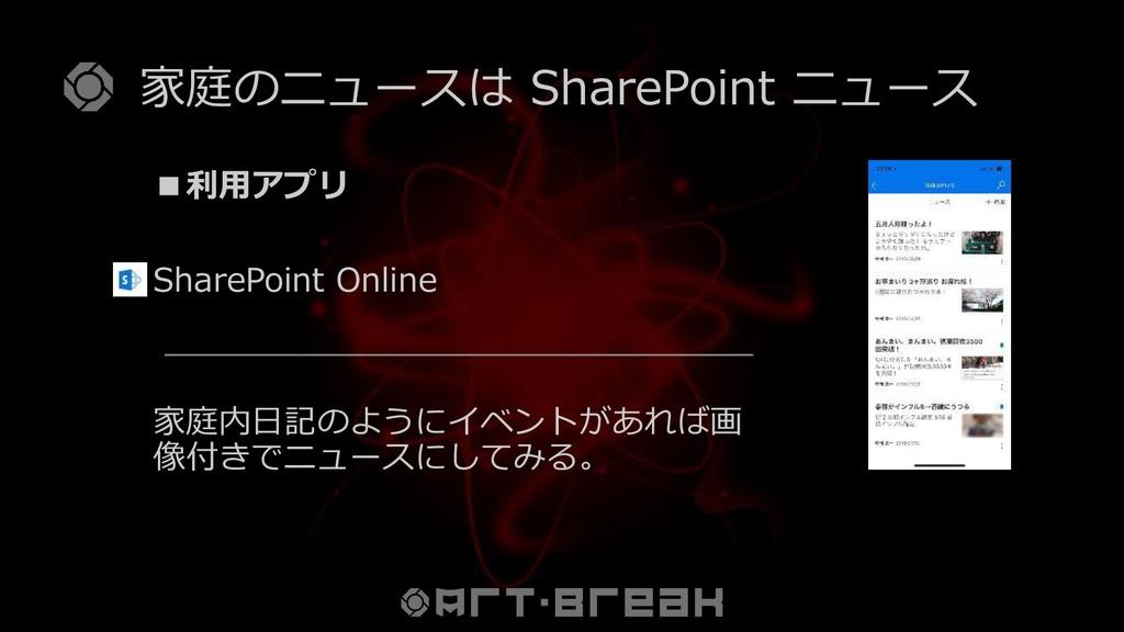 家庭のニュースは SharePoint ニュース ■利用アプリ SharePoint Onli...