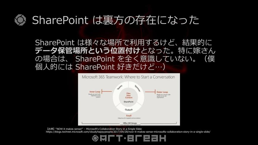 SharePoint は裏方の存在になった SharePoint は様々な場所で利用するけど、...