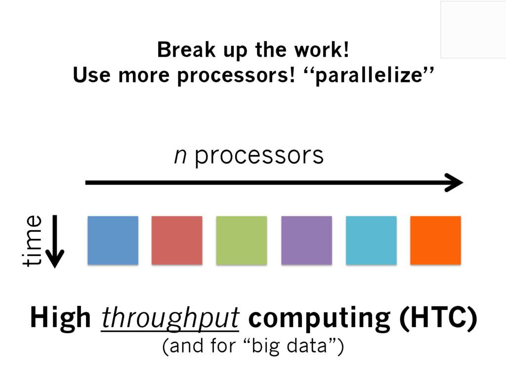 time n processors High throughput computing (HT...