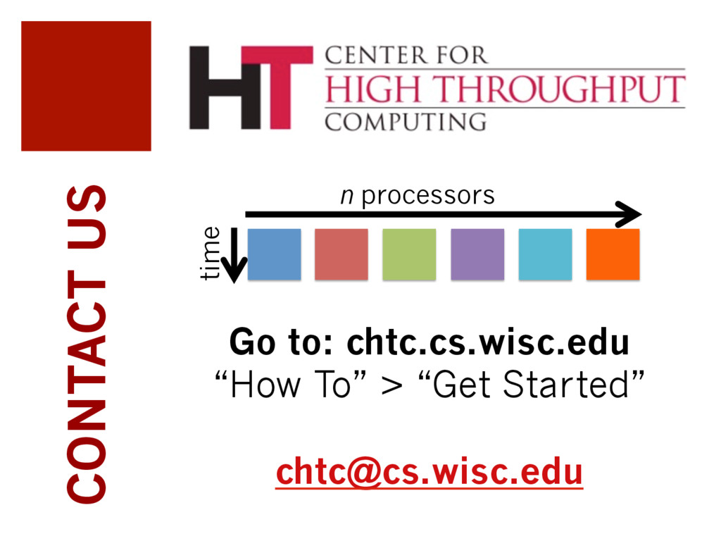 """CONTACT US Go to: chtc.cs.wisc.edu """"How To"""" > """"..."""