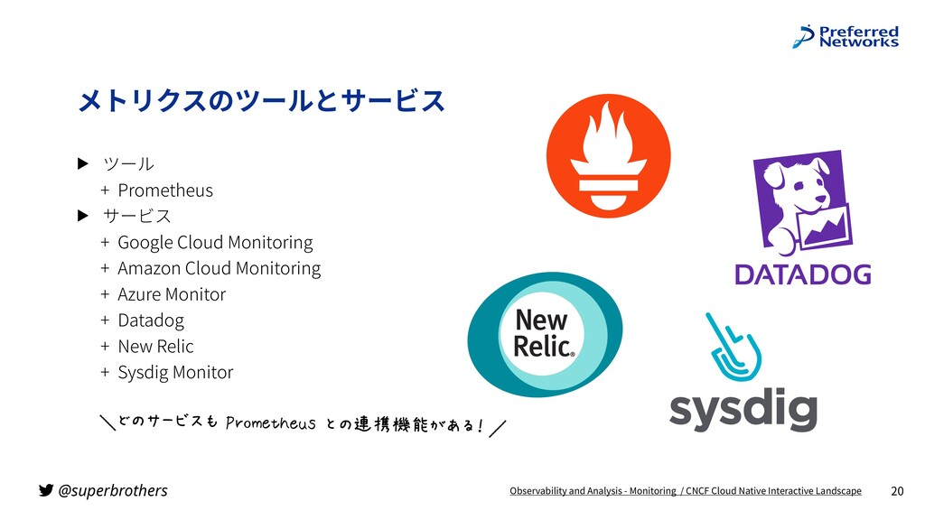 @superbrothers ▶ ツール + Prometheus ▶ サービス + Goog...