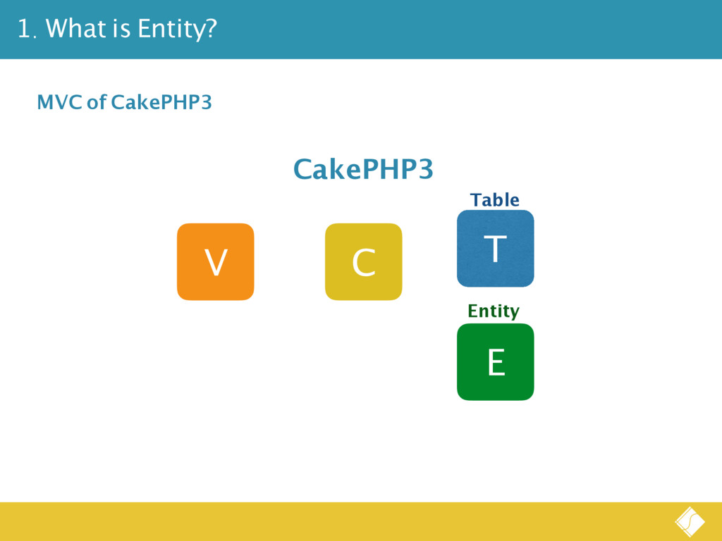 1. What is Entity? V C T CakePHP3 E Table Entit...