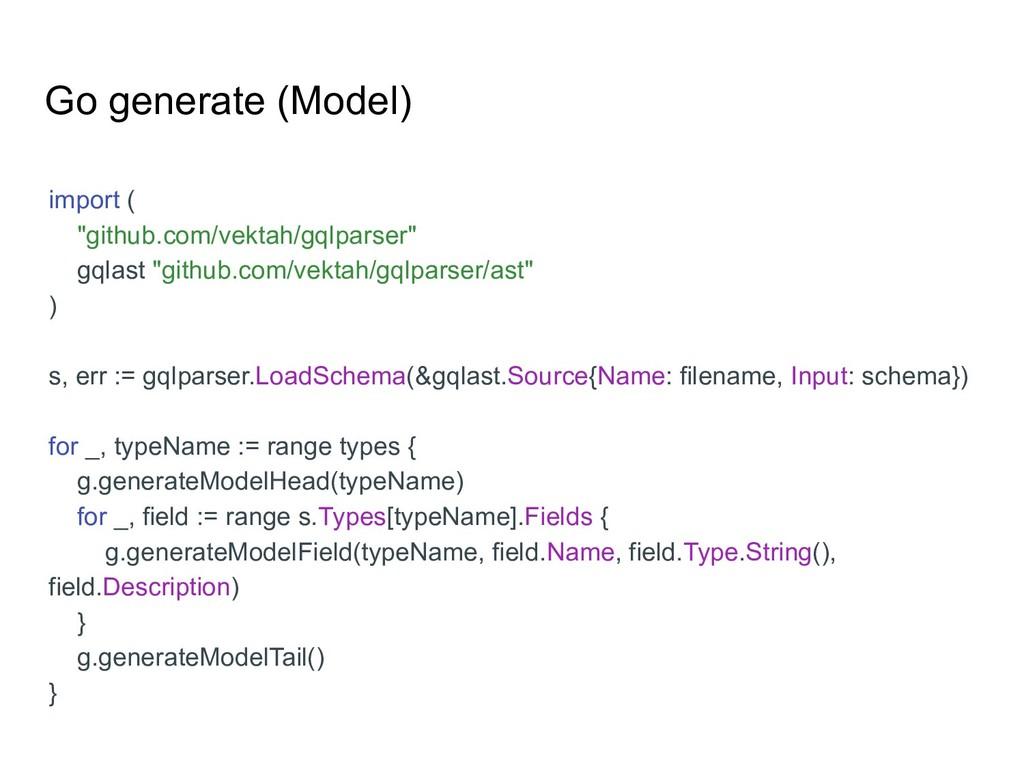 """Go generate (Model) import ( """"github.com/vektah..."""