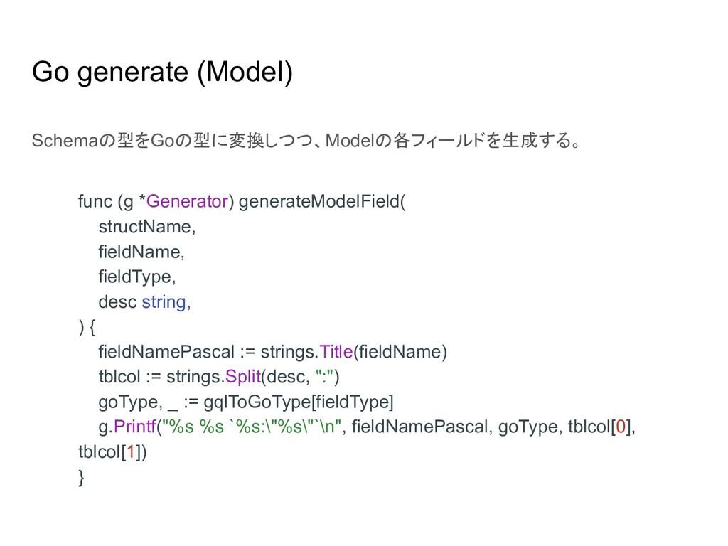 Go generate (Model) func (g *Generator) generat...