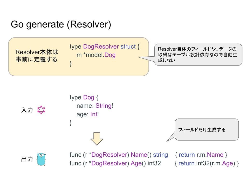 Go generate (Resolver) func (r *DogResolver) Na...