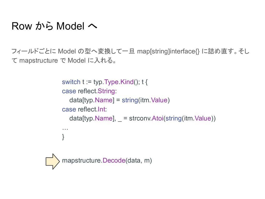 Row から Model へ フィールドごとに Model の型へ変換して一旦 map[str...