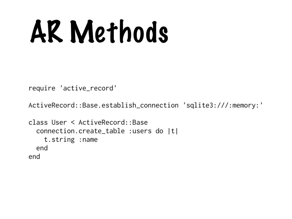 AR Methods require 'active_record' ActiveRecord...