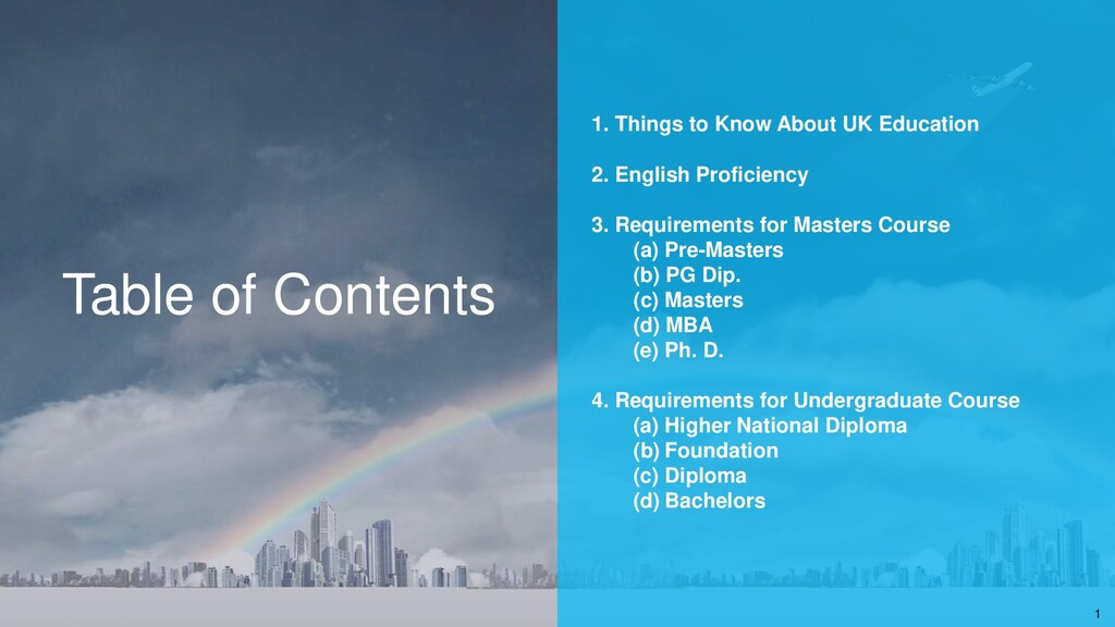 Table of Contents 1. Things to Know About UK Ed...