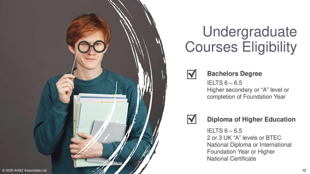 Undergraduate Courses Eligibility IELTS 6 – 6.5...