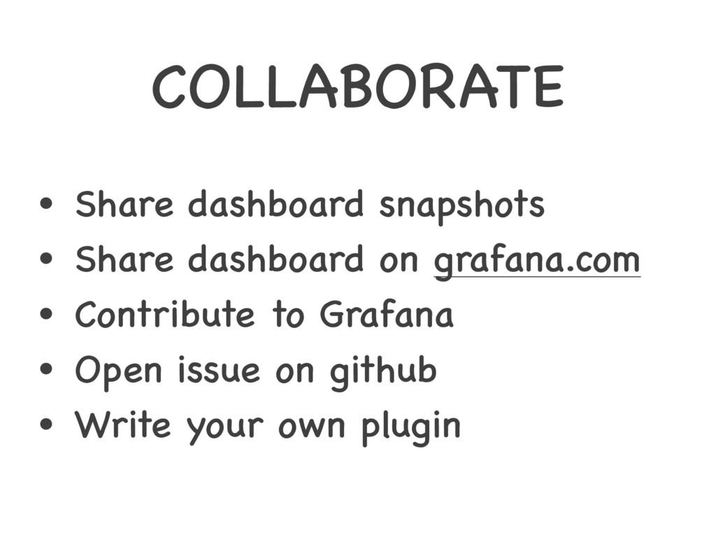 COLLABORATE • Share dashboard snapshots • Share...