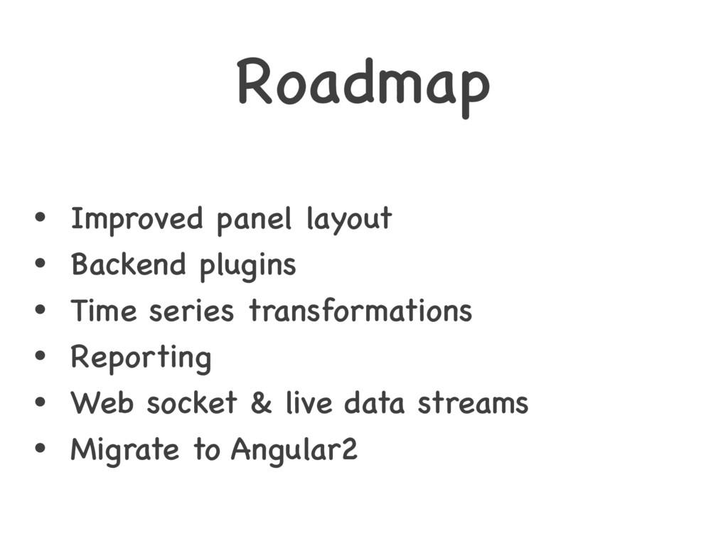 Roadmap • Improved panel layout • Backend plugi...