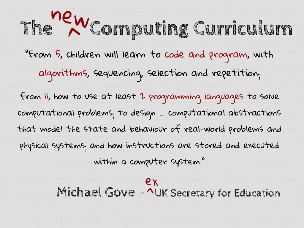 """The Computing Curriculum new > """"From 5, childre..."""
