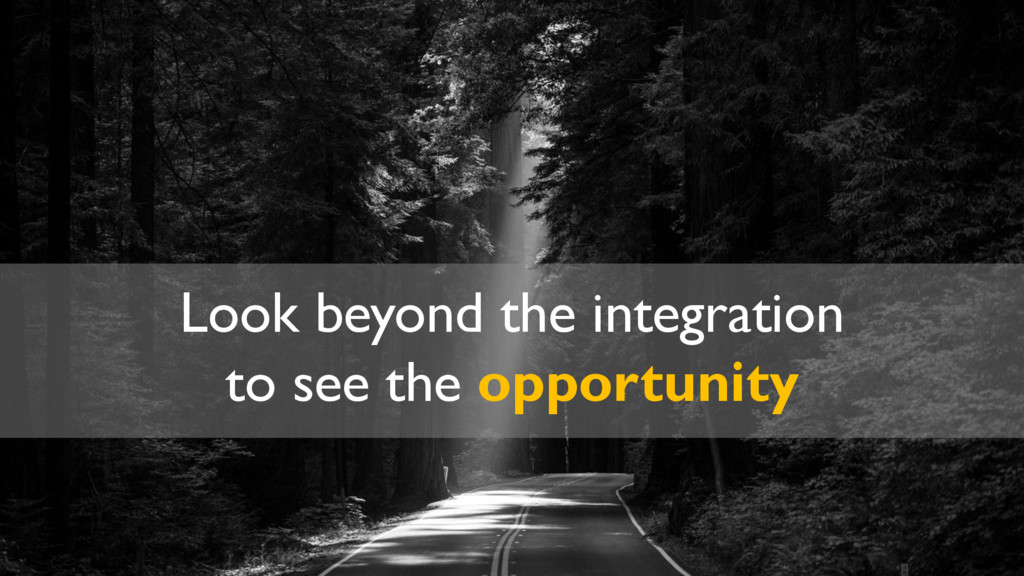 Look beyond the integration to see the opportun...
