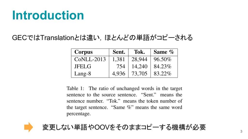 GECではTranslationとは違い,ほとんどの単語がコピーされる 変更しない単語やOOV...