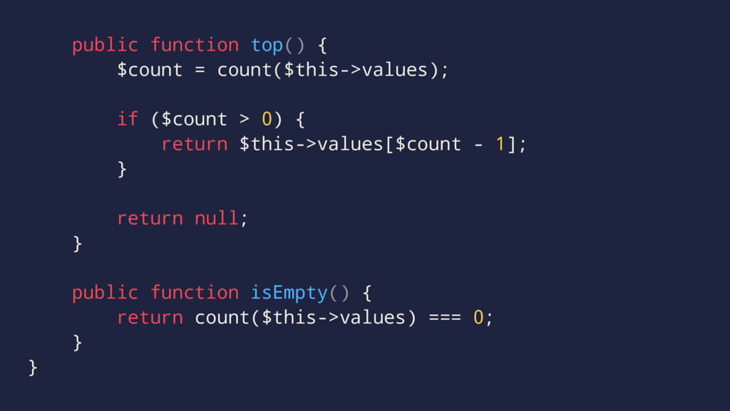 public function top() { $count = count($this->v...