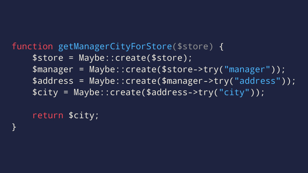 function getManagerCityForStore($store) { $stor...