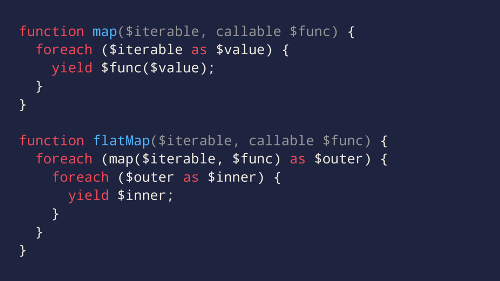function map($iterable, callable $func) { forea...