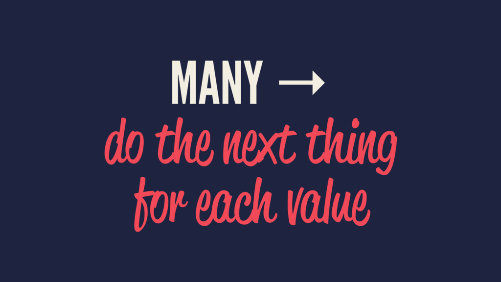 MANY → do the next thing for each value