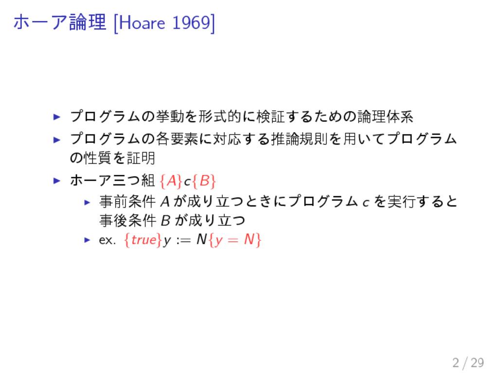 ホーア論理 [Hoare 1969] プログラムの挙動を形式的に検証するための論理体系 プログ...