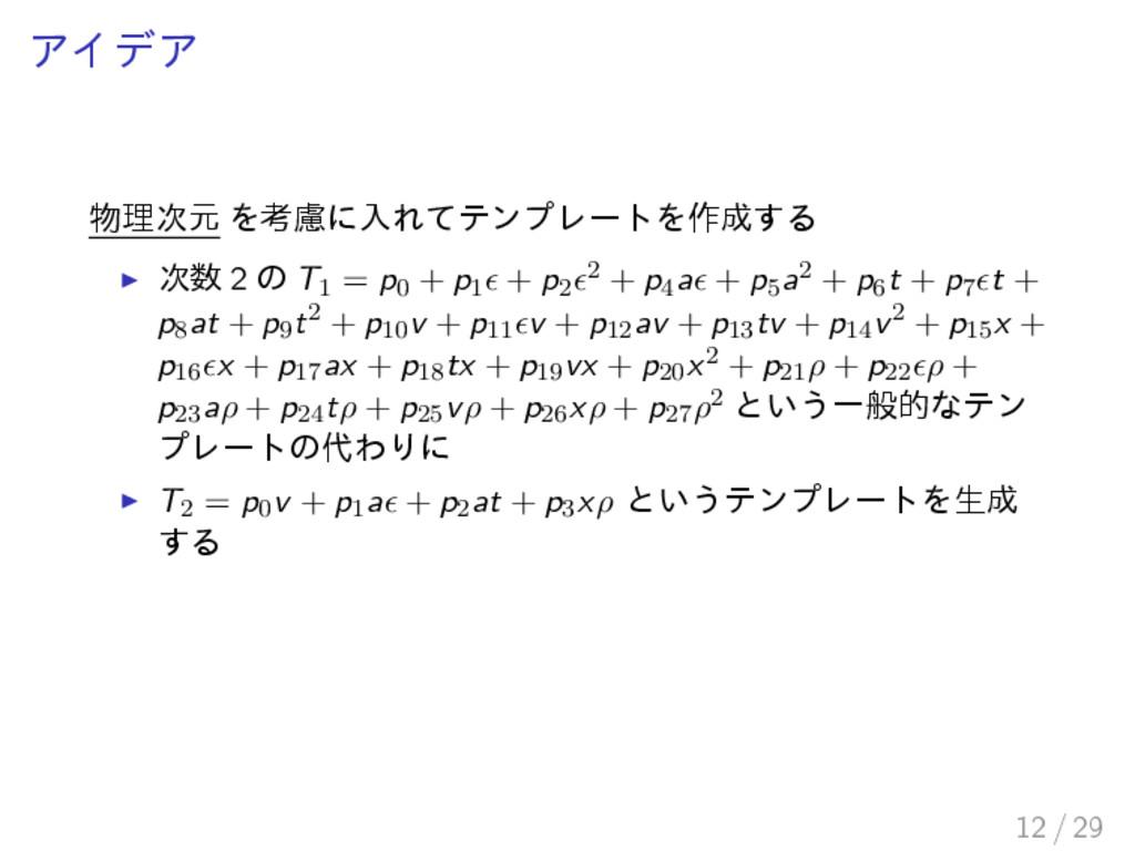 アイデア 物理次元 を考慮に入れてテンプレートを作成する 次数 2 の T1 = p0 + p...