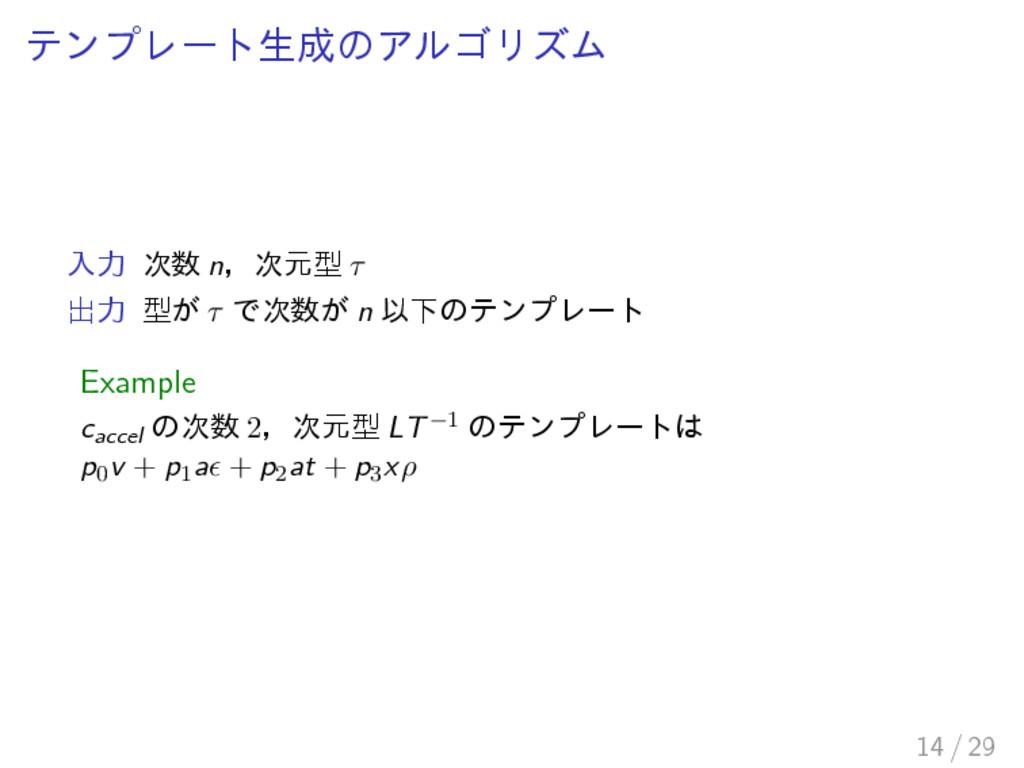 テンプレート生成のアルゴリズム 入力 次数 n,次元型 τ 出力 型が τ で次数が n 以下...