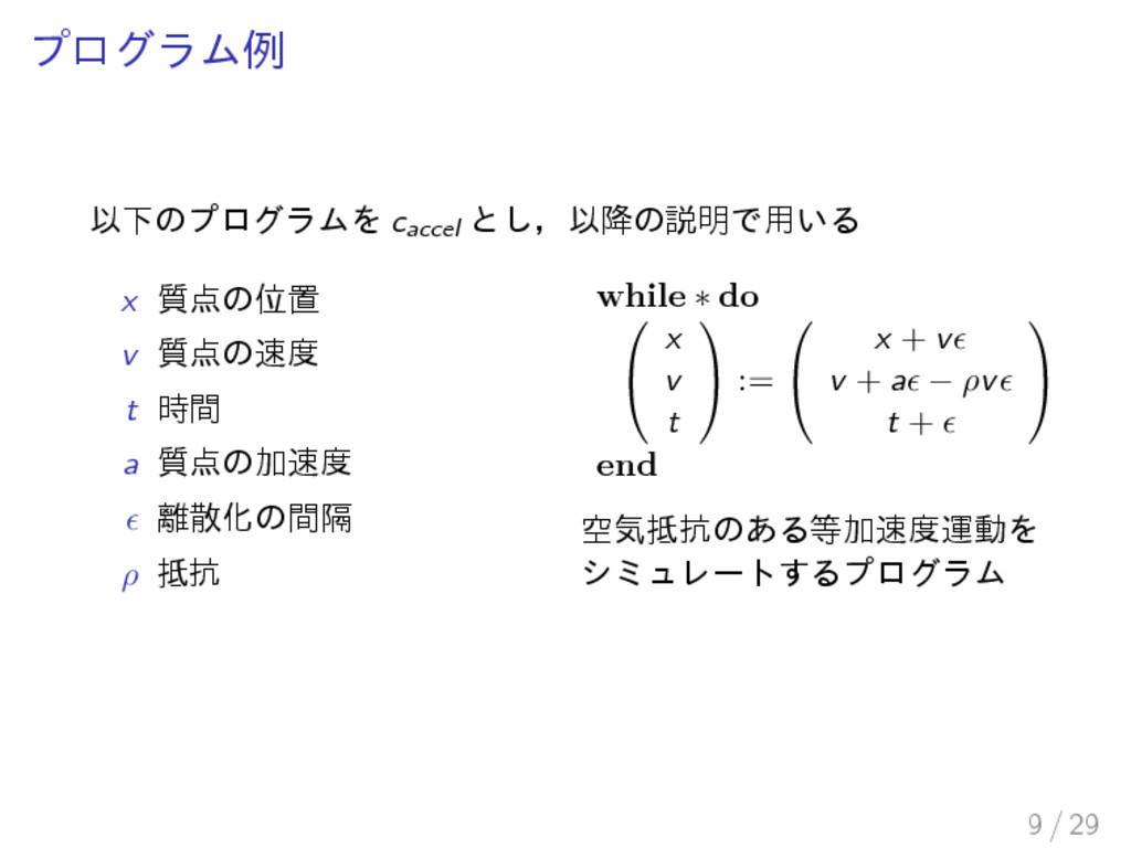 プログラム例 以下のプログラムを caccel とし,以降の説明で用いる x 質点の位置 v ...