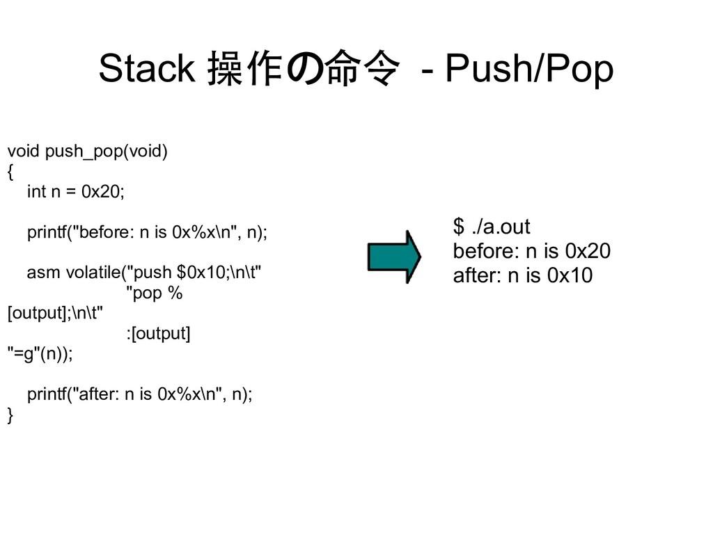 Stack 操作の命令 - Push/Pop void push_pop(void) { in...