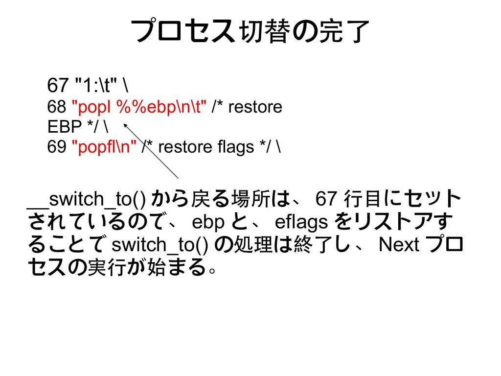 プロセス切替の完了 __switch_to() から戻る場所は、 67 行目にセット されてい...