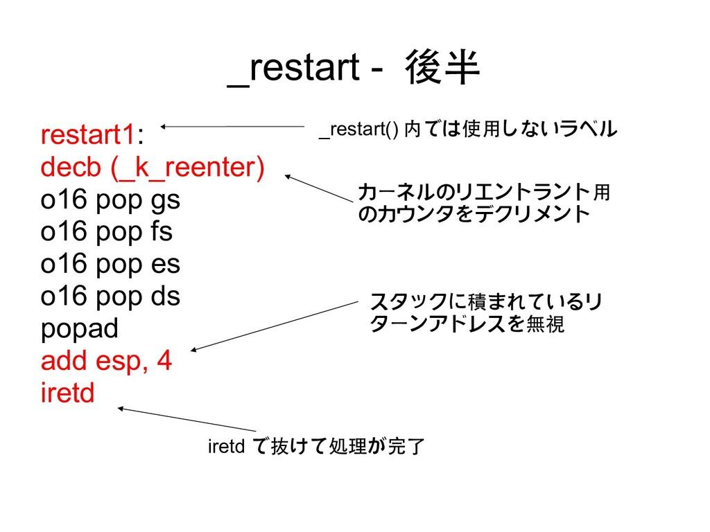 _restart - 後半 restart1: decb (_k_reenter) o16 p...