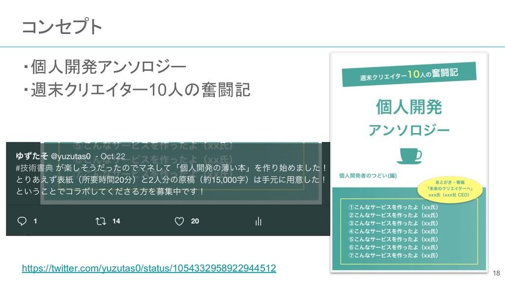 コンセプト ・個人開発アンソロジー ・週末クリエイター10人の奮闘記 https://twit...