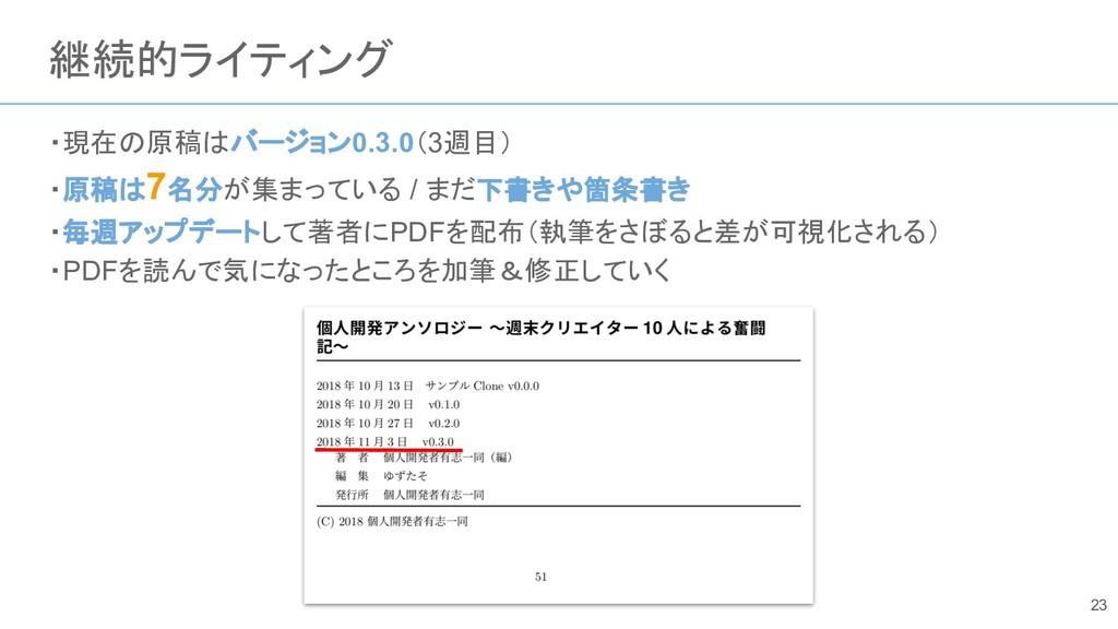 継続的ライティング ・現在の原稿はバージョン0.3.0(3週目) ・原稿は7名分が集まっている...