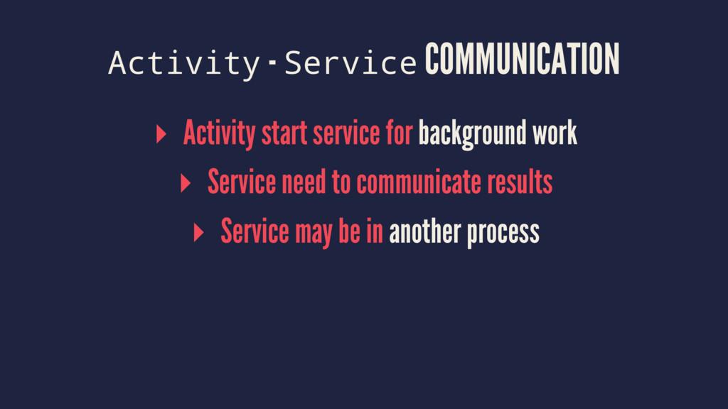 Activity - Service COMMUNICATION ▸ Activity sta...