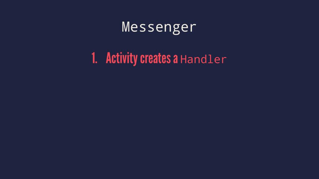 Messenger 1. Activity creates a Handler