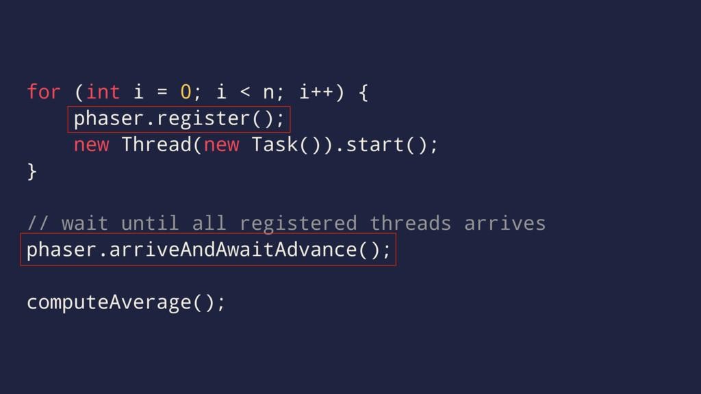 for (int i = 0; i < n; i++) { phaser.register()...