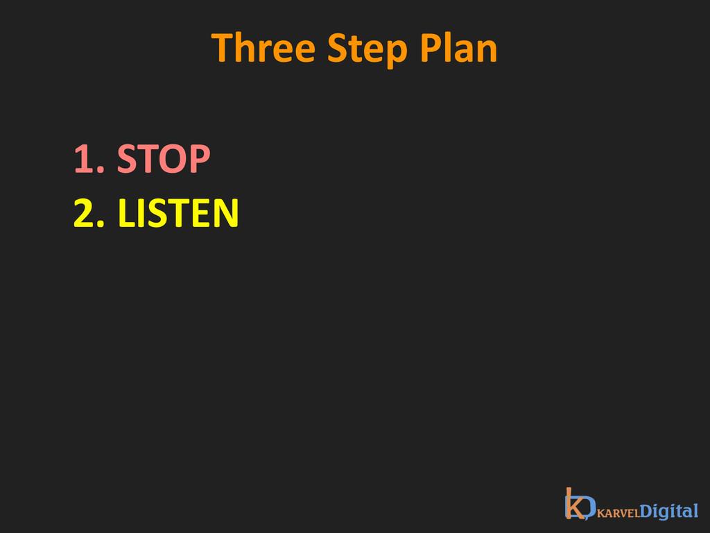 Three Step Plan 1. STOP 2. LISTEN