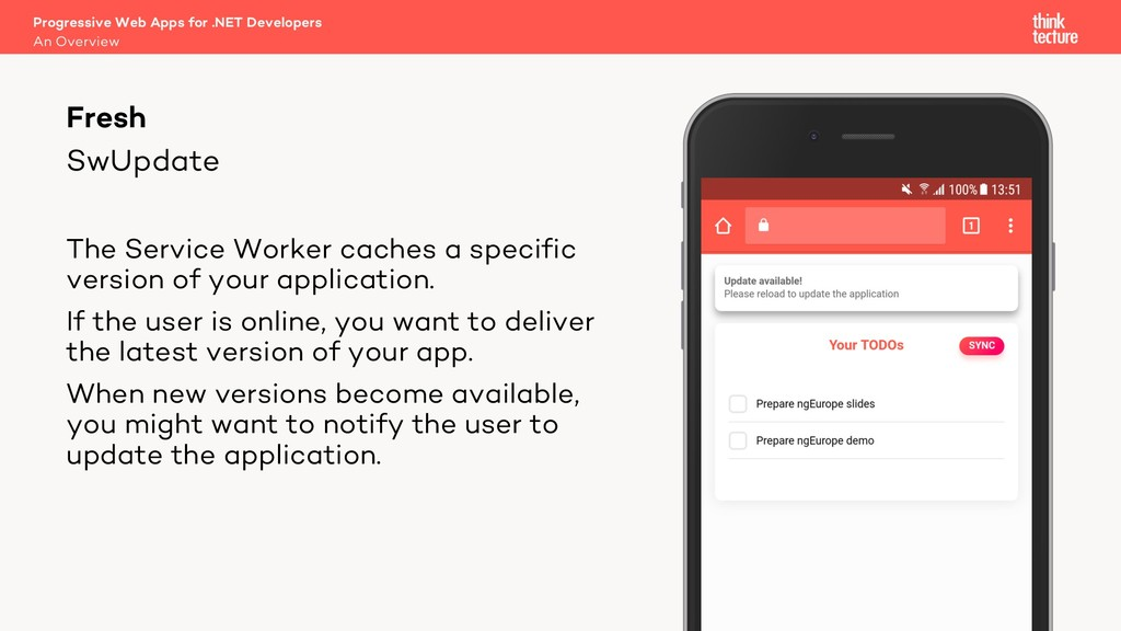 SwUpdate The Service Worker caches a specific v...