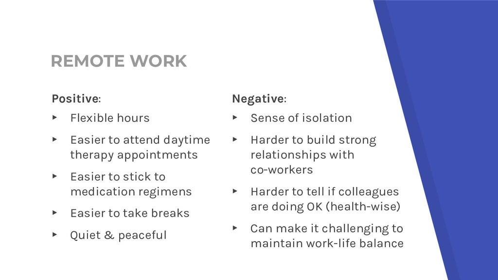 REMOTE WORK Negative: ▸ Sense of isolation ▸ Ha...