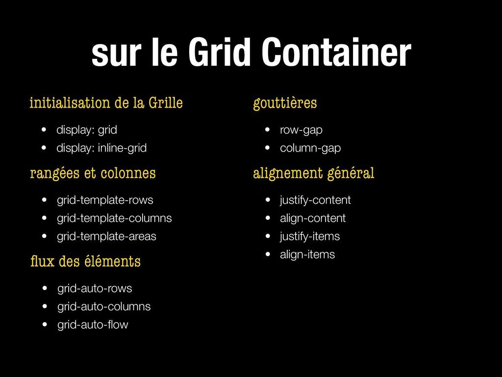 sur le Grid Container initialisation de la Gril...