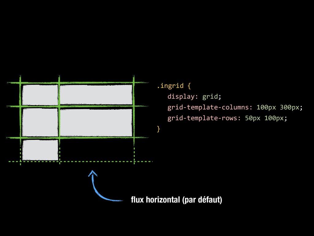 flux horizontal (par défaut) .ingrid { display: ...
